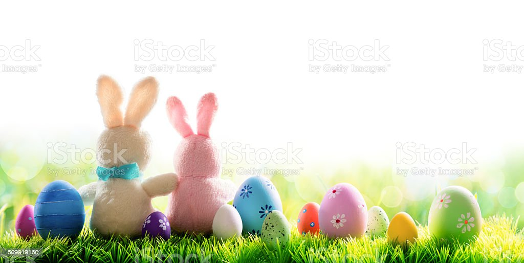 Two Bunnies With Easter Eggs Isolated On Sunny Meadow stock photo