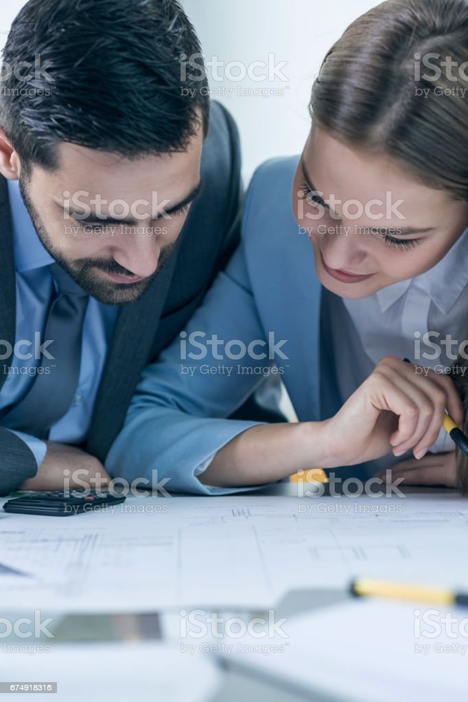Two business associates working together royalty-free stock photo