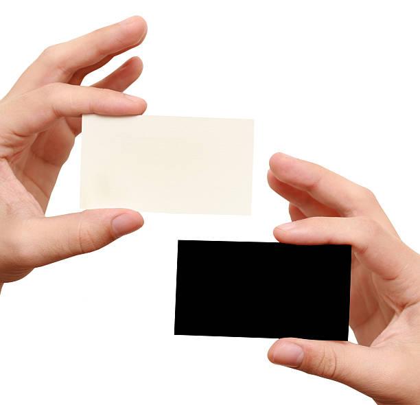 Zwei business-Karten-weiß und schwarz – Foto