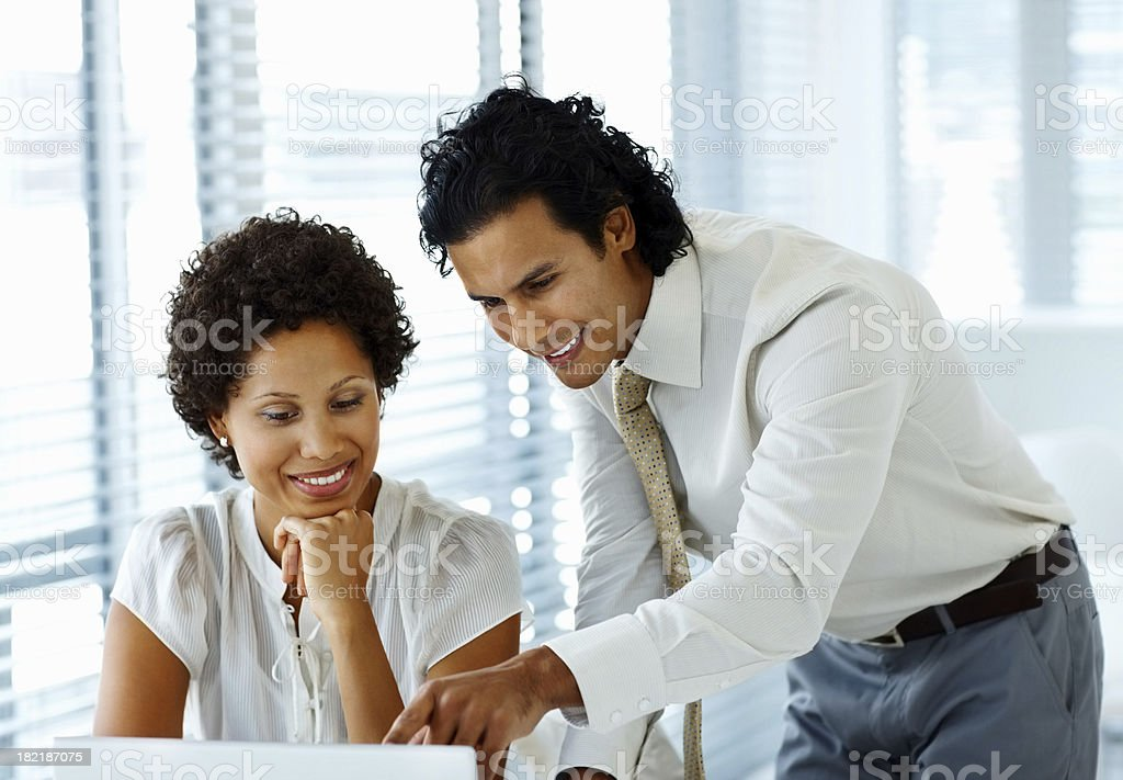 Two business colleagues discussing royalty-free stock photo