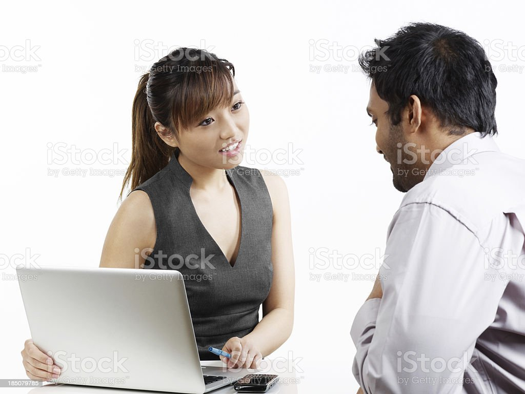 Two business colleagues talking royalty-free stock photo