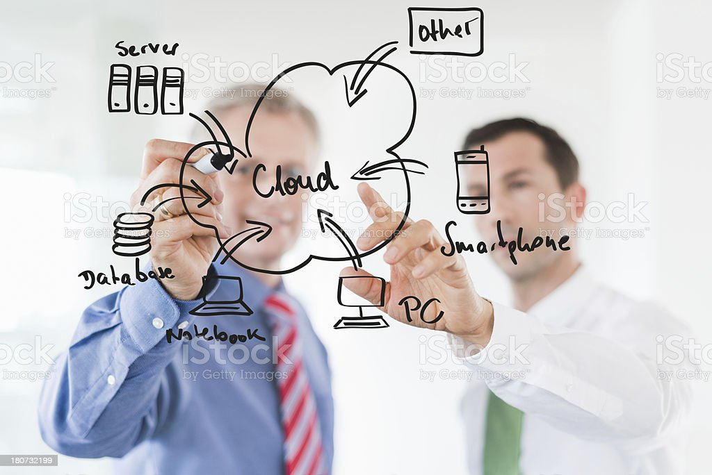 two business men discuss a project while drawing on a board royalty-free stock photo