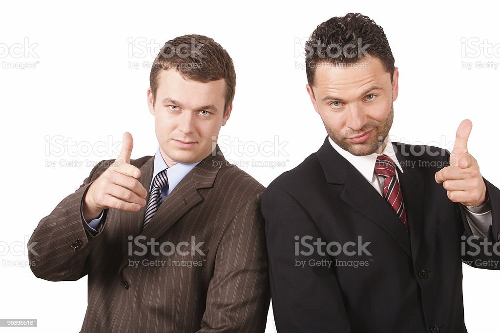 two business men pointing at you - Royalty-free Adult Stock Photo