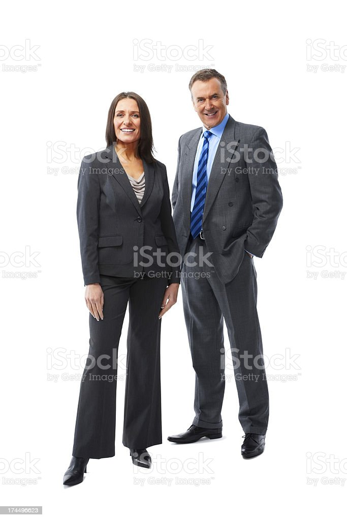 Two business partners standing together on white royalty-free stock photo