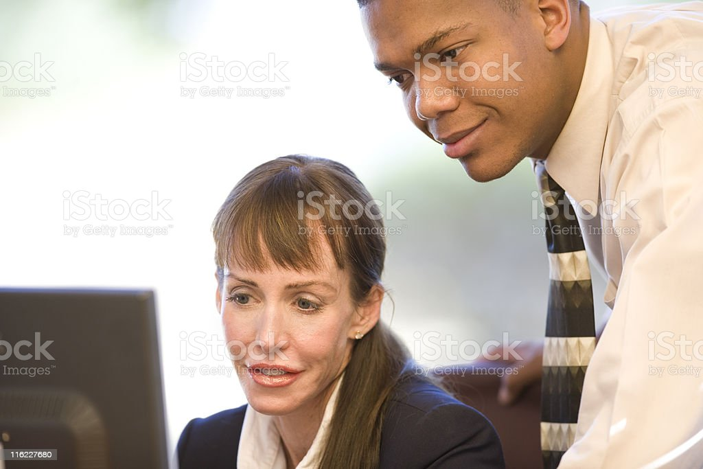 Two Business People Working Together royalty-free stock photo