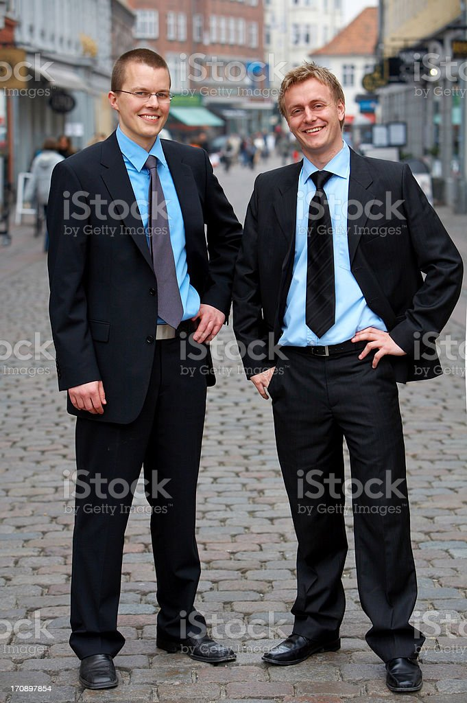 Two business trainees in a European City (Aarhus) royalty-free stock photo