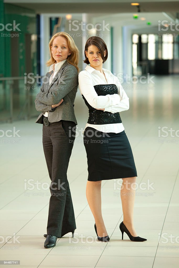 two business women in corridor royalty-free stock photo