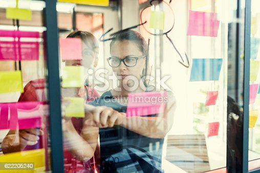 istock Two business women working together on wall glass 622205240