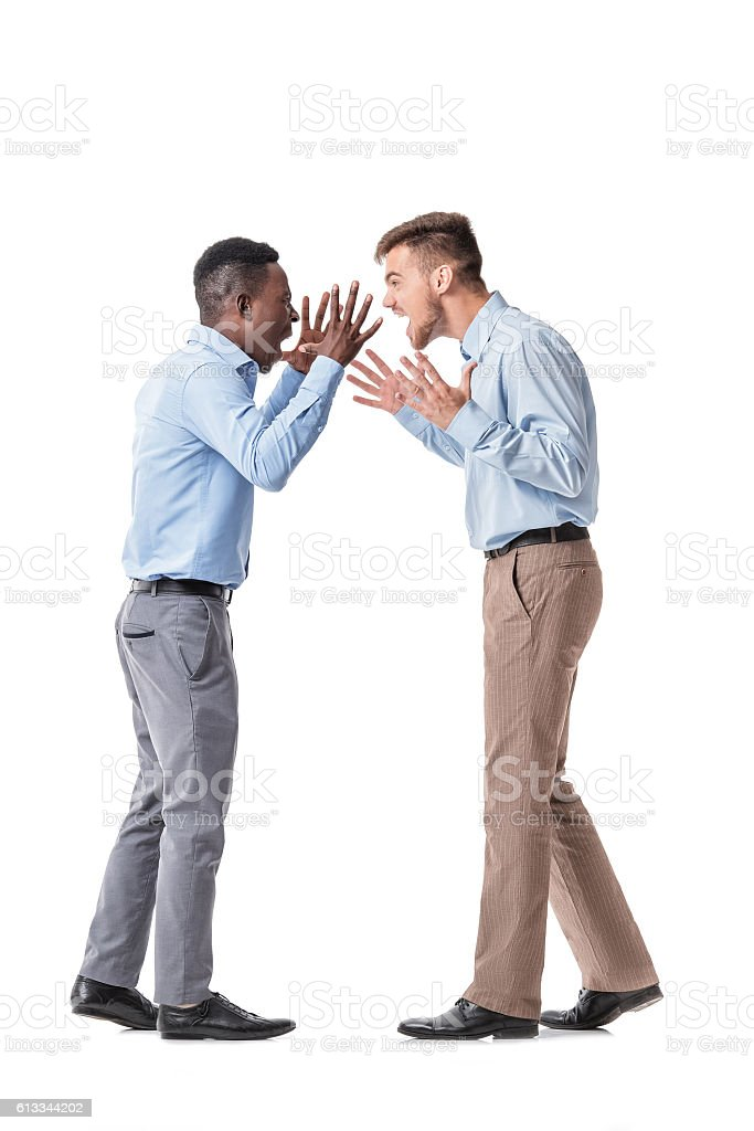 two businessman  arguing stock photo