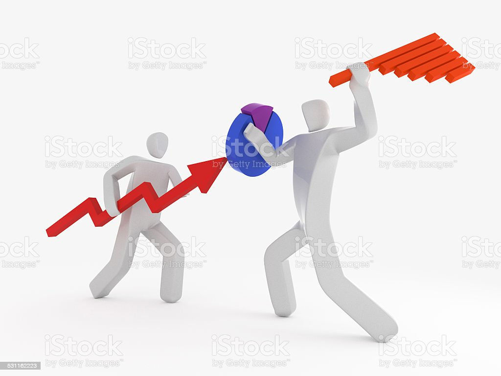 two businessman fighting using pie-chart and bar graph stock photo