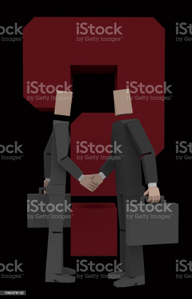 two businessman with question mark 3d rendering stock photo