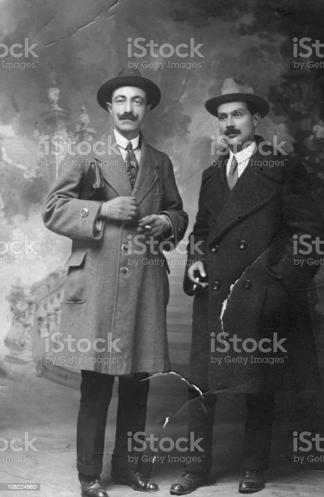 Two Businessmen from 1917.Black And White stock photo