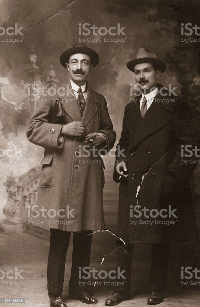 Two Businessmen in 1917.Sepia Toned. stock photo