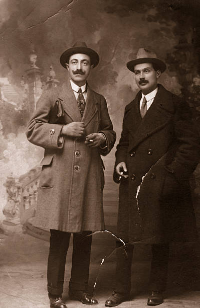 two businessmen in 1917.sepia toned. - 1920s style stock photos and pictures