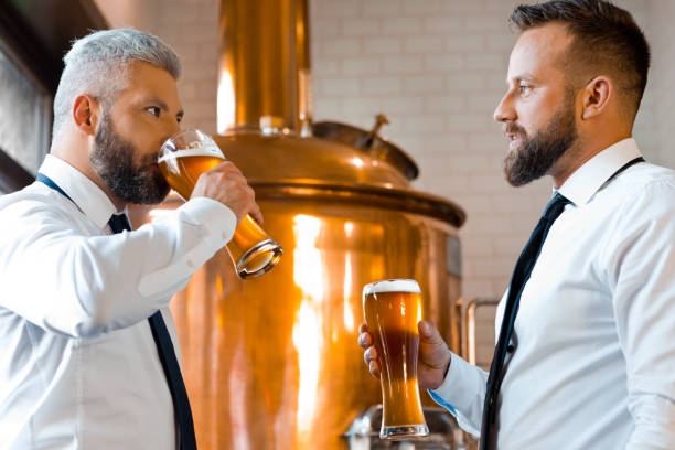 Two businessmen talking over beer in the microbrewery stock photo