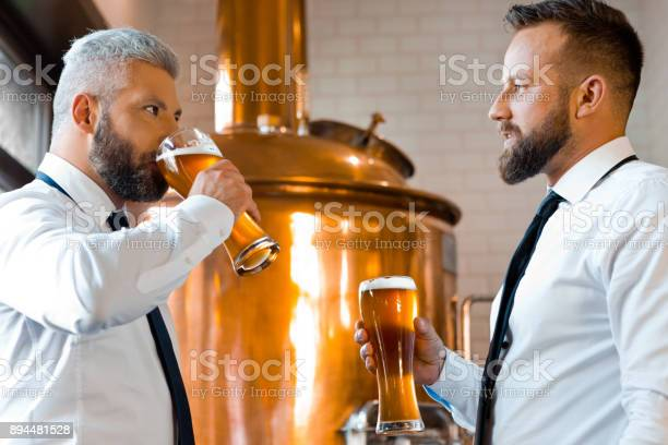 Two Businessmen Talking Over Beer In The Microbrewery Stock Photo - Download Image Now