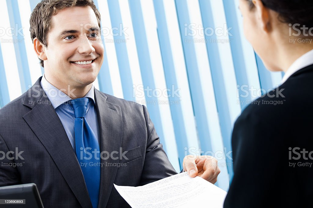 Two businesspeople at office royalty-free stock photo