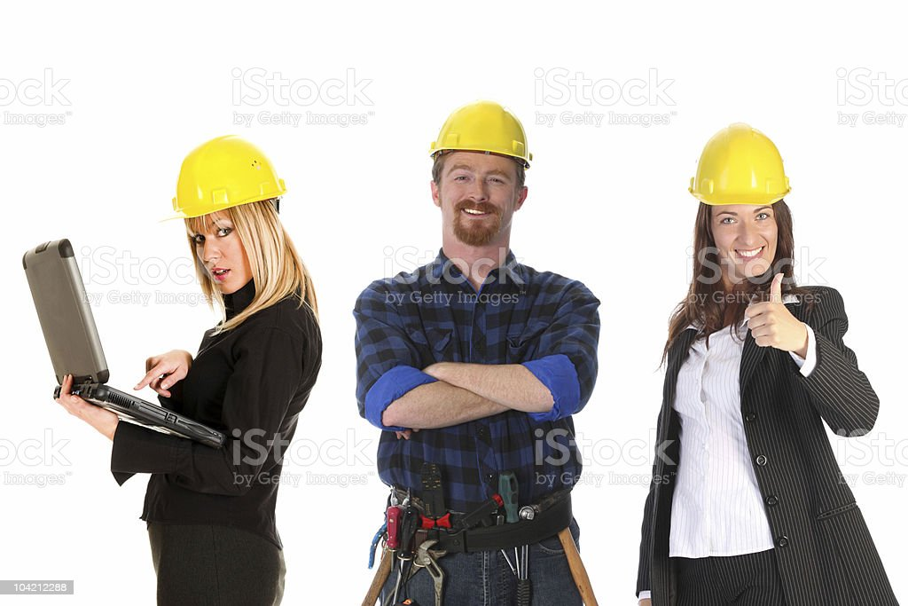 two businesswoman and construction worker royalty-free stock photo