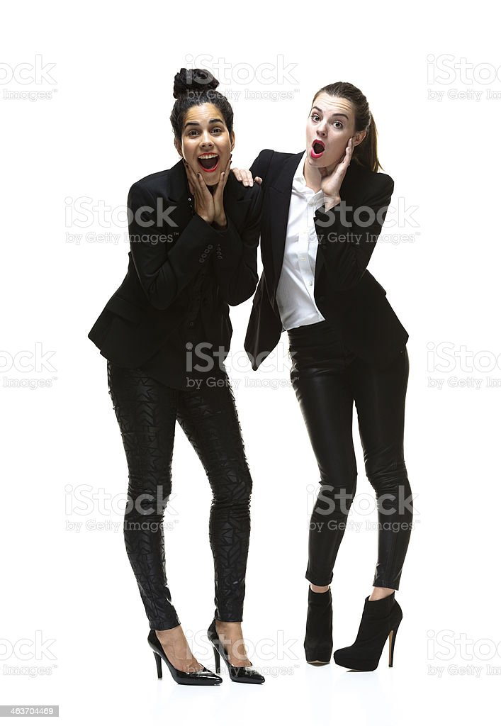 Two businesswoman standing stock photo