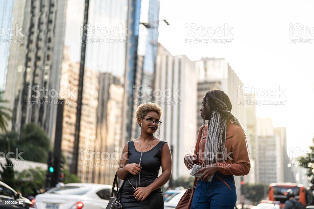 Two Businesswoman Walking in Sao Paulo City, Brazil royalty-free stock photo