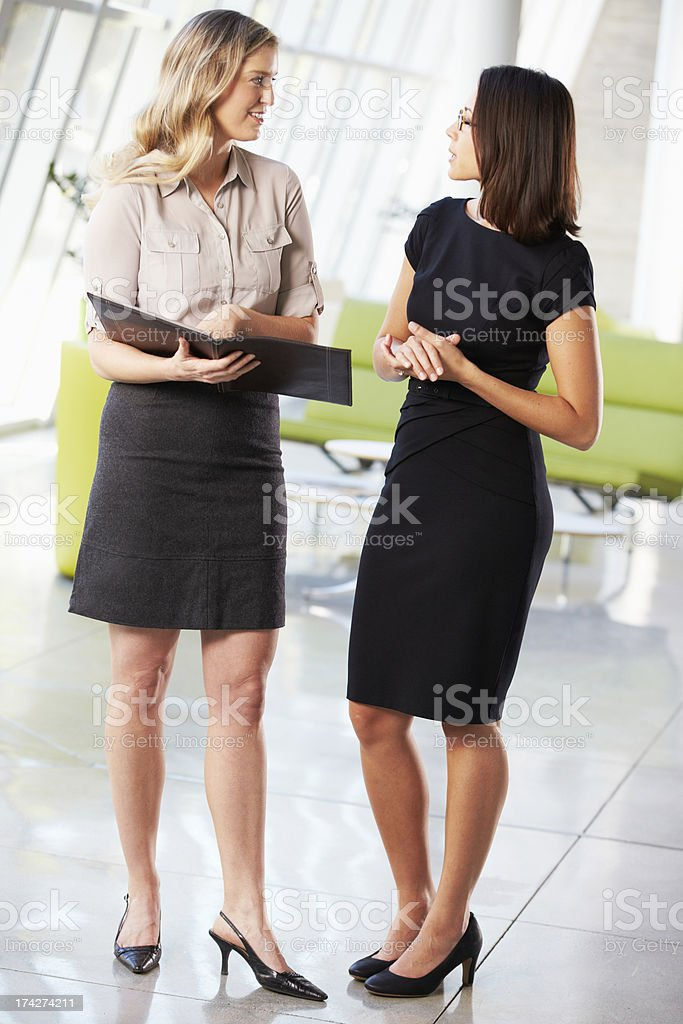 Two Businesswomen Having Informal Meeting In Modern Office royalty-free stock photo