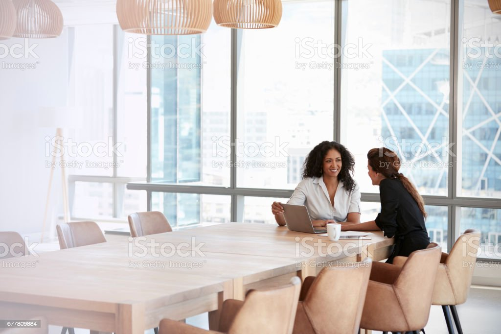 Two Businesswomen Using Laptop In Boardroom Meeting stock photo