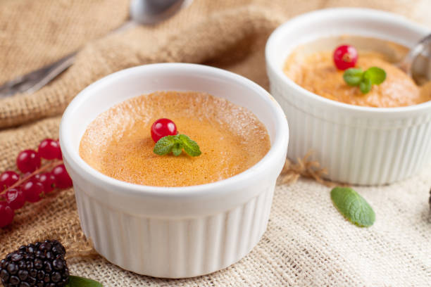 Two butternut squash souffle stock photo