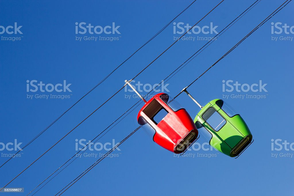 Two cabins ropeway stock photo