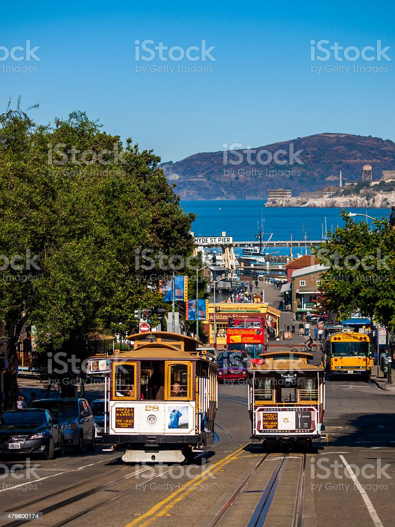 Two Cable cars San Francisco, California stock photo