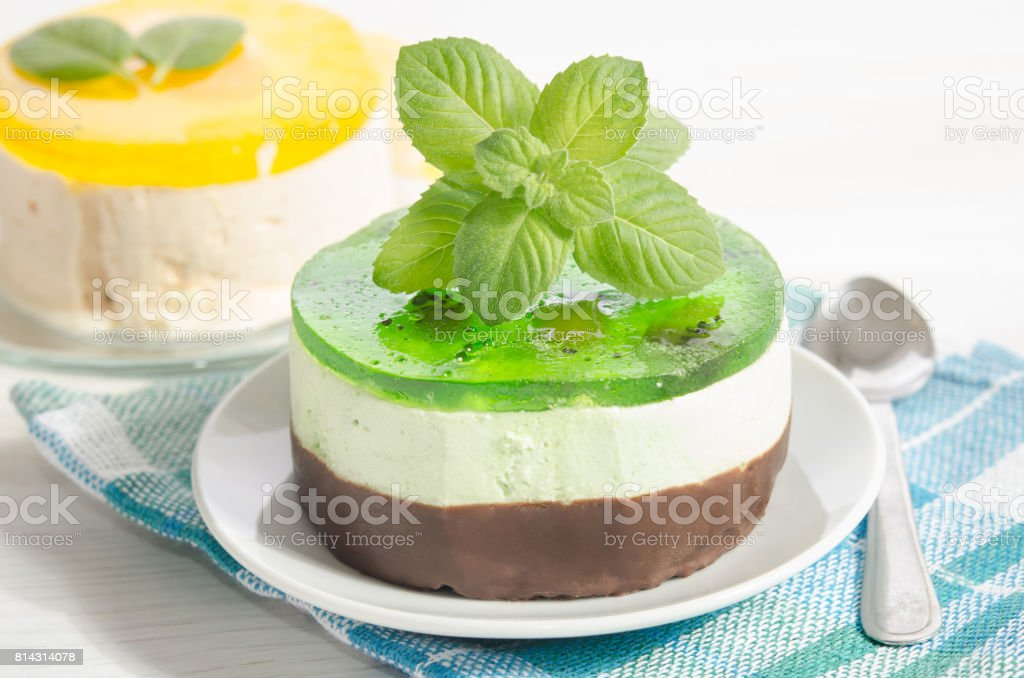 two cakes with lemon and mint stock photo