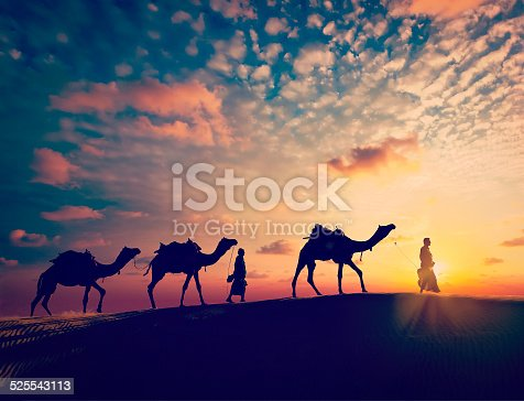 Vintage retro effect filtered hipster style image of  Rajasthan travel background - two indian cameleers (camel drivers) with camels silhouettes in dunes of Thar desert on sunset. Jaisalmer, Rajasthan, India
