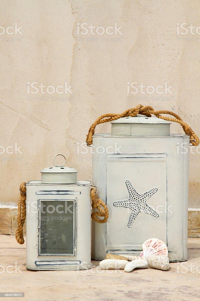 two candle lanterns stock photo