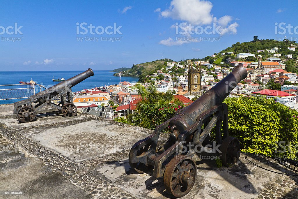 Two cannons pointed to St. George's, Grenada W.I. stock photo
