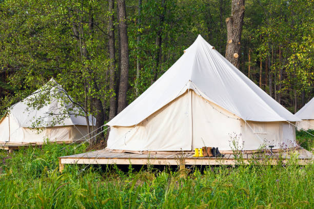 Two canvas bell tents outdoors at forest stock photo