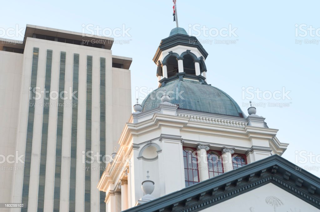 Two Capitol Buildings in Tallahassee, Florida royalty-free stock photo