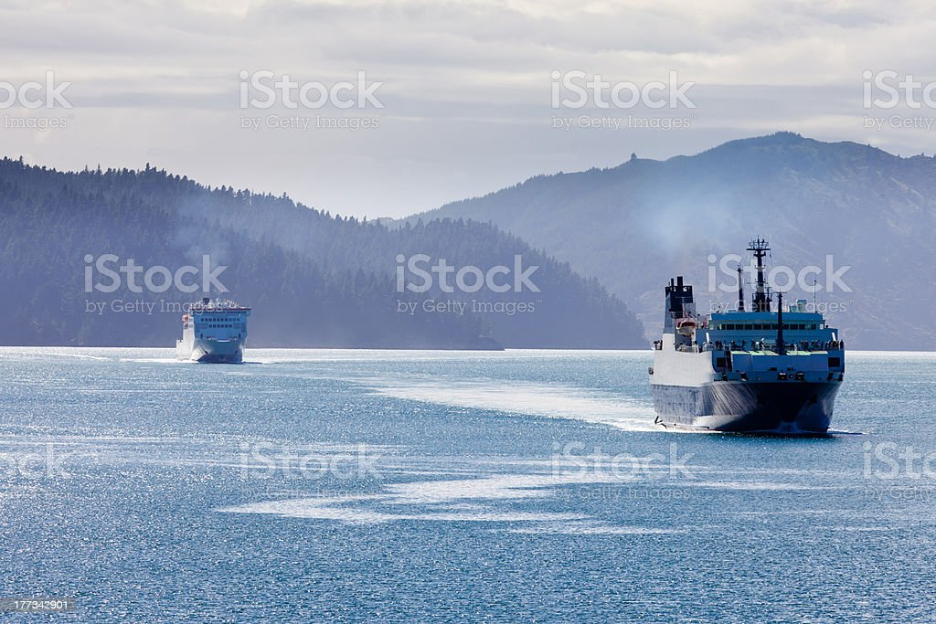 Two car ferries in Marlborough Sounds, New Zealand royalty-free stock photo