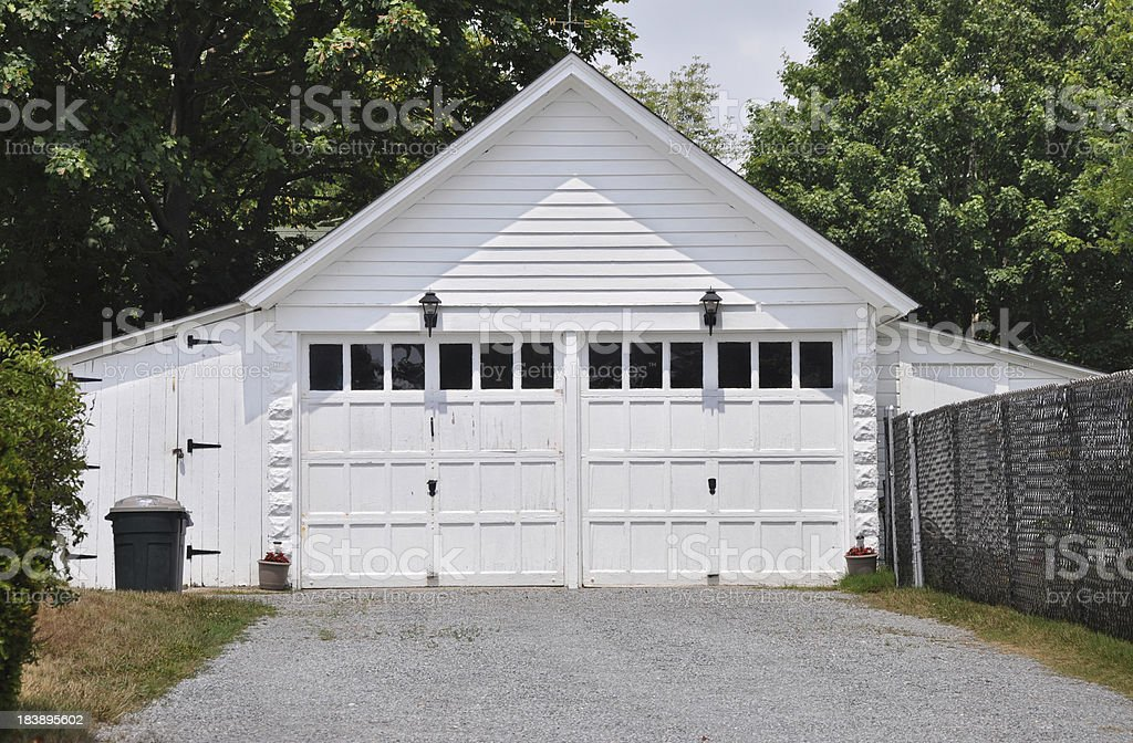 Two Car Garage A Frame Style Architecture stock photo