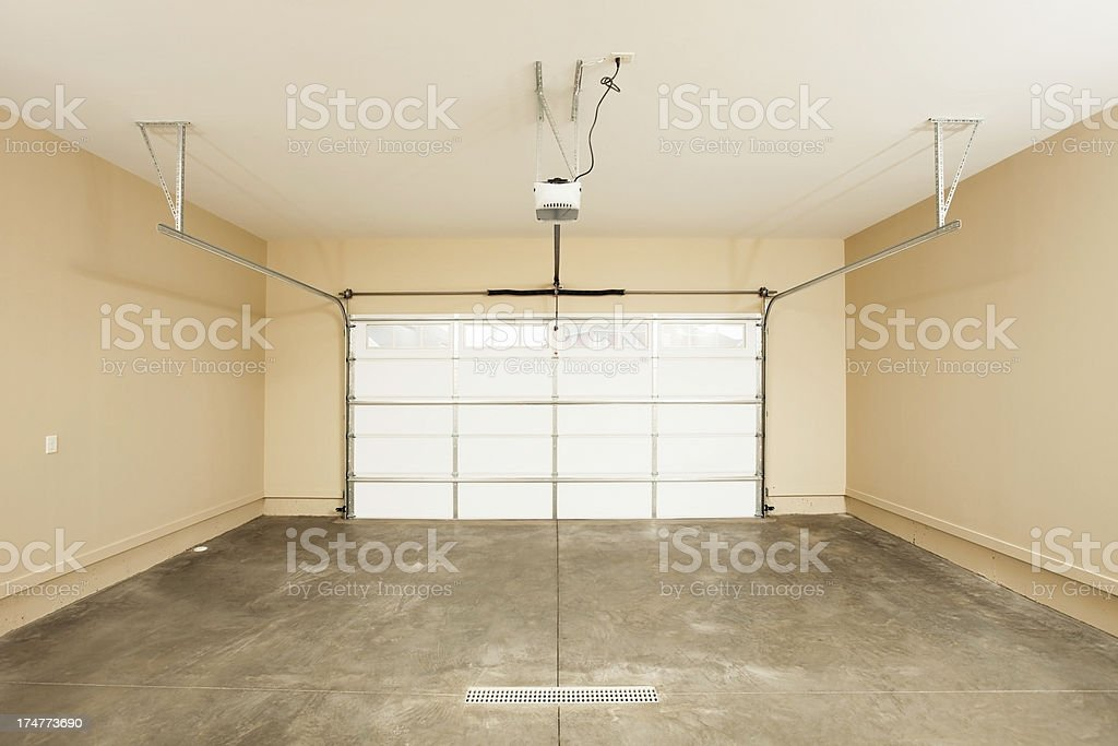 Two Car Garage Interior with Door stock photo