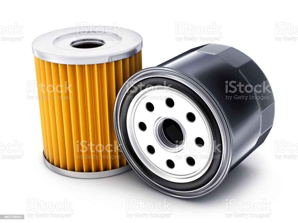 Two car oil filter stock photo