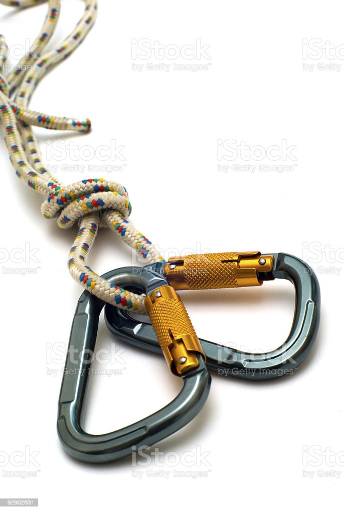 two carabiners and rope stock photo