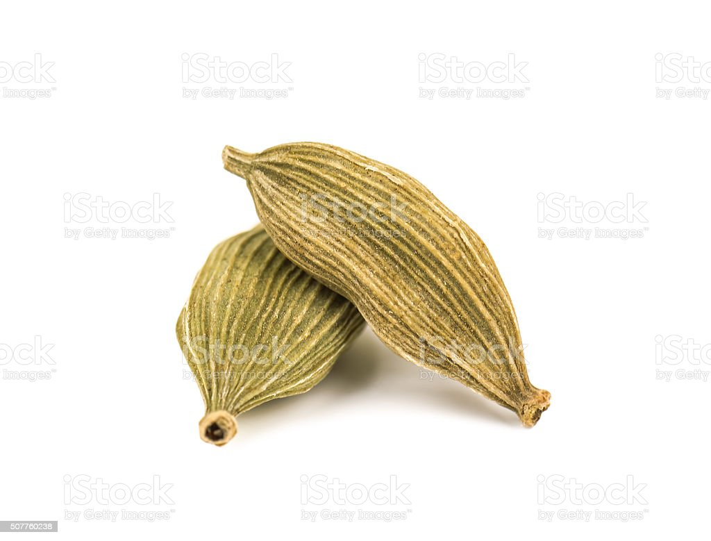 two cardamom pods stock photo