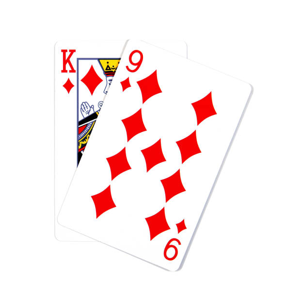 two cards isolated on white.k and 9 playing cards - буква k стоковые фото и изображения