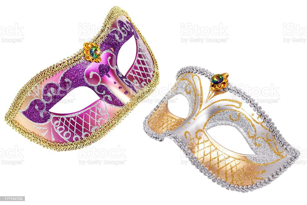 Two carnival masks with purple and gold decorations royalty-free stock photo