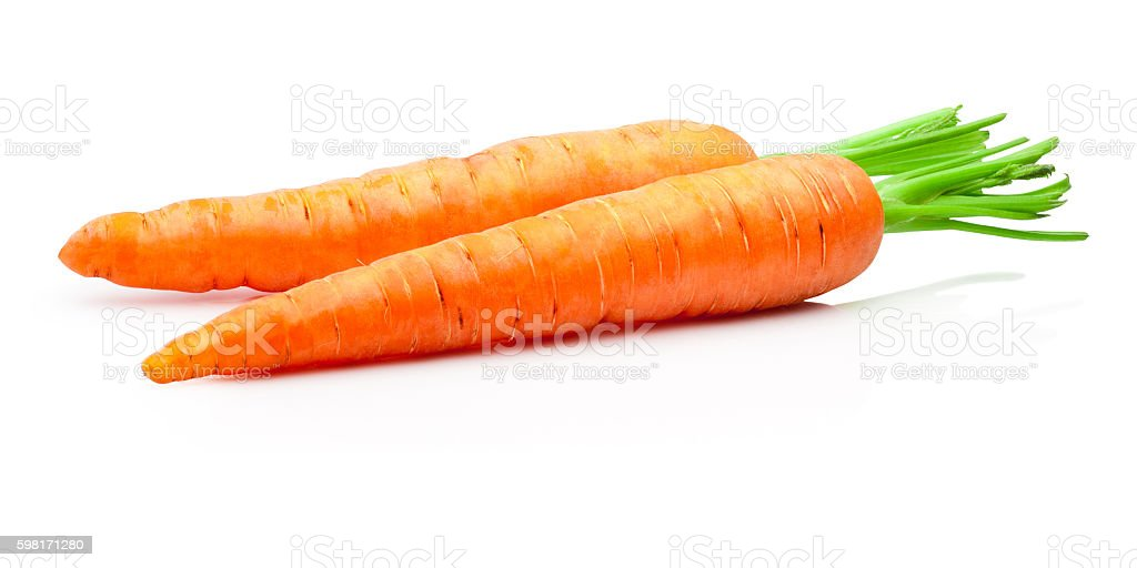 Two carrots isolated on withe background stock photo