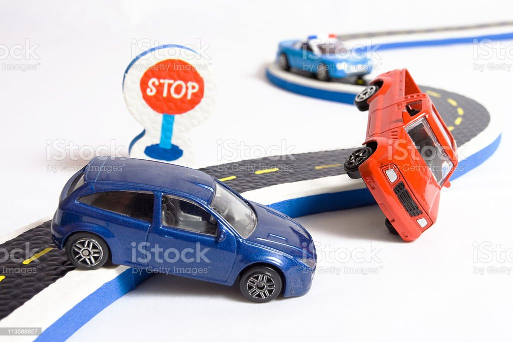 two cars accident crash road, insurance, toys broken auto car stock photo