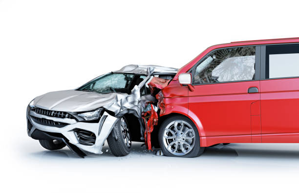 Two cars accident. Crashed cars. A red van against a silver sedan. Two cars accident. Crashed cars. A red van against a silver sedan. Big damage. Isolated on white background. Viewed from a side. traffic accident stock pictures, royalty-free photos & images