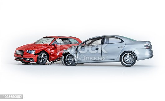 Two cars accident. Crashed cars. One silver sedan against one red coupé. Big damage. Isolated on white background. Viewed from a side. 3d rendering.