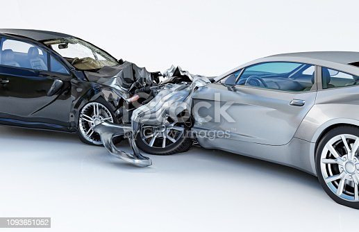 istock Two cars accident. Crashed cars. One silver sport car against one black sedan. 1093651052