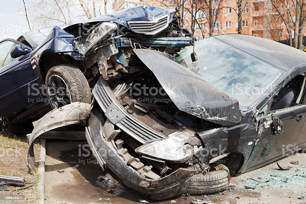 two cars car broken during road accident stock photo