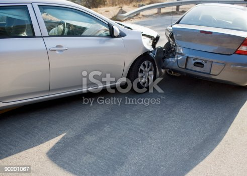 istock Two cars in collision on roadway 90201067